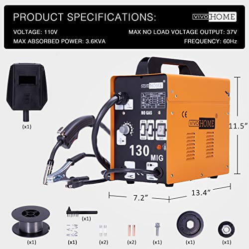 VIVOHOME Portable Flux Core Wire No Gas MIG 130 Welder Machine 110V by VIVOHOME (Image #5)