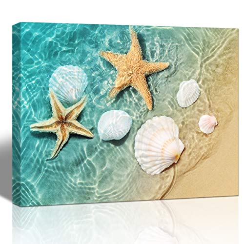 Purple Verbene Art Sea Shell Starfish Pictures Home Wall Art Decor Ocean Beach Seascape Canvas Print Painting Modern Artwork for Living Room Bedroom Bathroom Wall Decoration,Framed Picture 10x14 Inch (Starfish Photo)