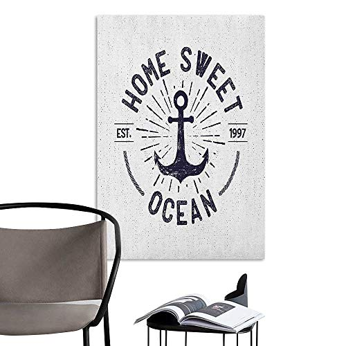 (3D Murals Stickers Wall Decals Anchor Home Sweet Ocean Lettering on a Nautical Sketch with Worn Out Background Navy Blue and White Simple European Style W24 x H36)