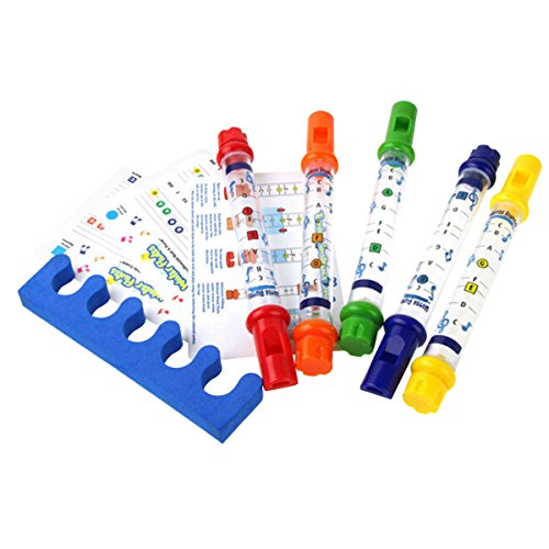 Evaliana 5pcs Water Flutes Whistles Music Sheets Musical Bath Time Toy Tub Tunes (Music Sheets For Flutes)
