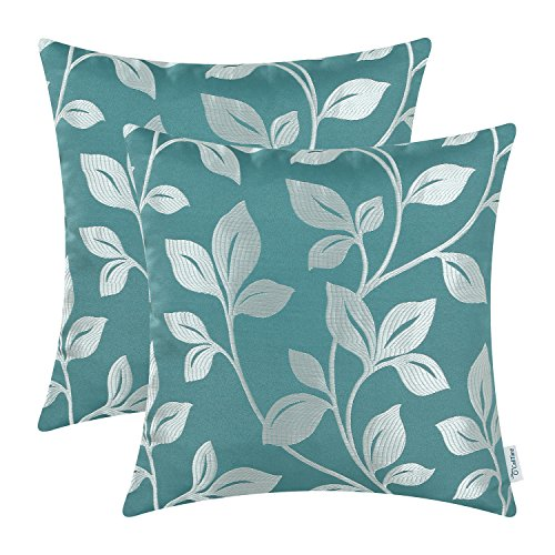 CaliTime Pack of 2 Soft Throw Pillow Covers Cases for Couch Sofa Home Decoration Cute Growing Leaves 18 X 18 inches Teal/White ()