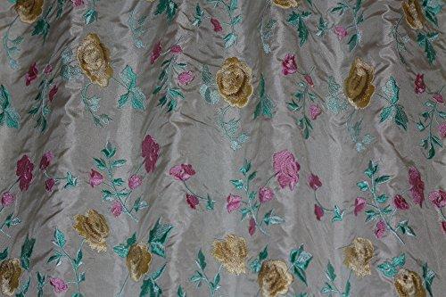 Silk Taffeta Drapery (Ivory Silk Taffeta with Flowery Embroidery, 100% Silk Fabric, By The Yard, 54