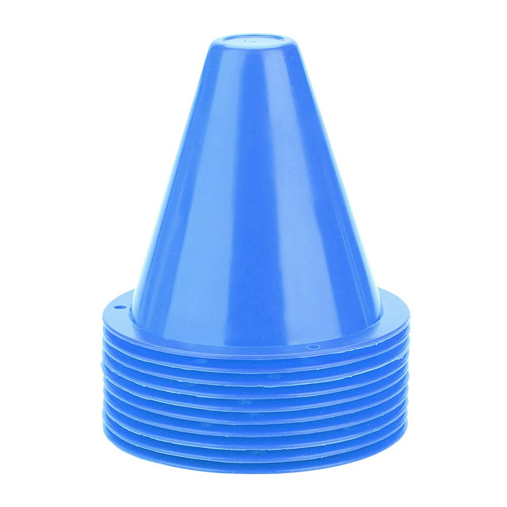 10pcs Soccer Markers PE Sports Training Traffic Cone for Kids Home Gym Soccer Blue