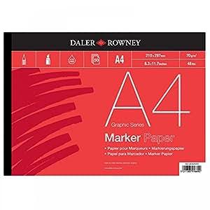 Daler Rowney - Cuaderno de pintura (espiral, 50 hojas, tamaño A4, dibujo con rotulador, no traspasa)