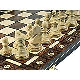 Woodburning Ambassador Wooden Chess Set - Board Brown 21x21 Inches