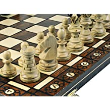 Woodburning Ambassador Wooden Chess Set - Board Brown 21x21 Inches