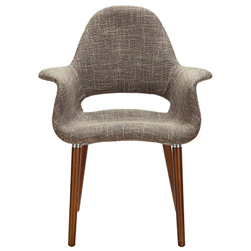Modway Aegis Mid-Century Modern Upholstered Fabric Organic Dining Armchair With Wood Legs In Taupe (Manhattan Dining Chairs Table And)