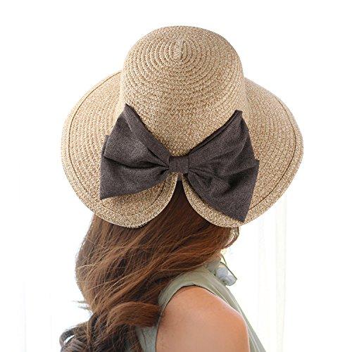 - Aerusi Women Straw Woven Bowknot Decor Panama Summer Beach Sun Hat Trilby Fedora, Beige