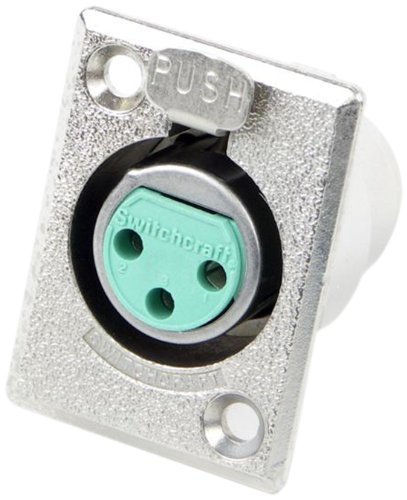Switchcraft D3F 3-Pin Female XLR Panel Mount Plug, Nickel Finish (Switchcraft Metal)