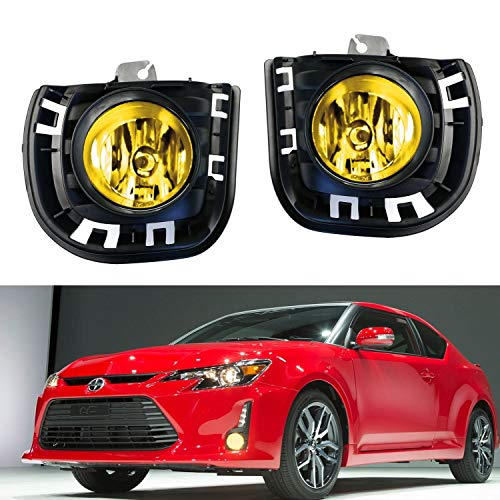 iJDMTOY Complete Set JDM Yellow Lens Fog Lights Foglamps w/ H11 Halogen Bulbs, Garnish Bezel Covers, Wiring On/Off Switch For 2014-up Scion - Tc Lights Scion Hid