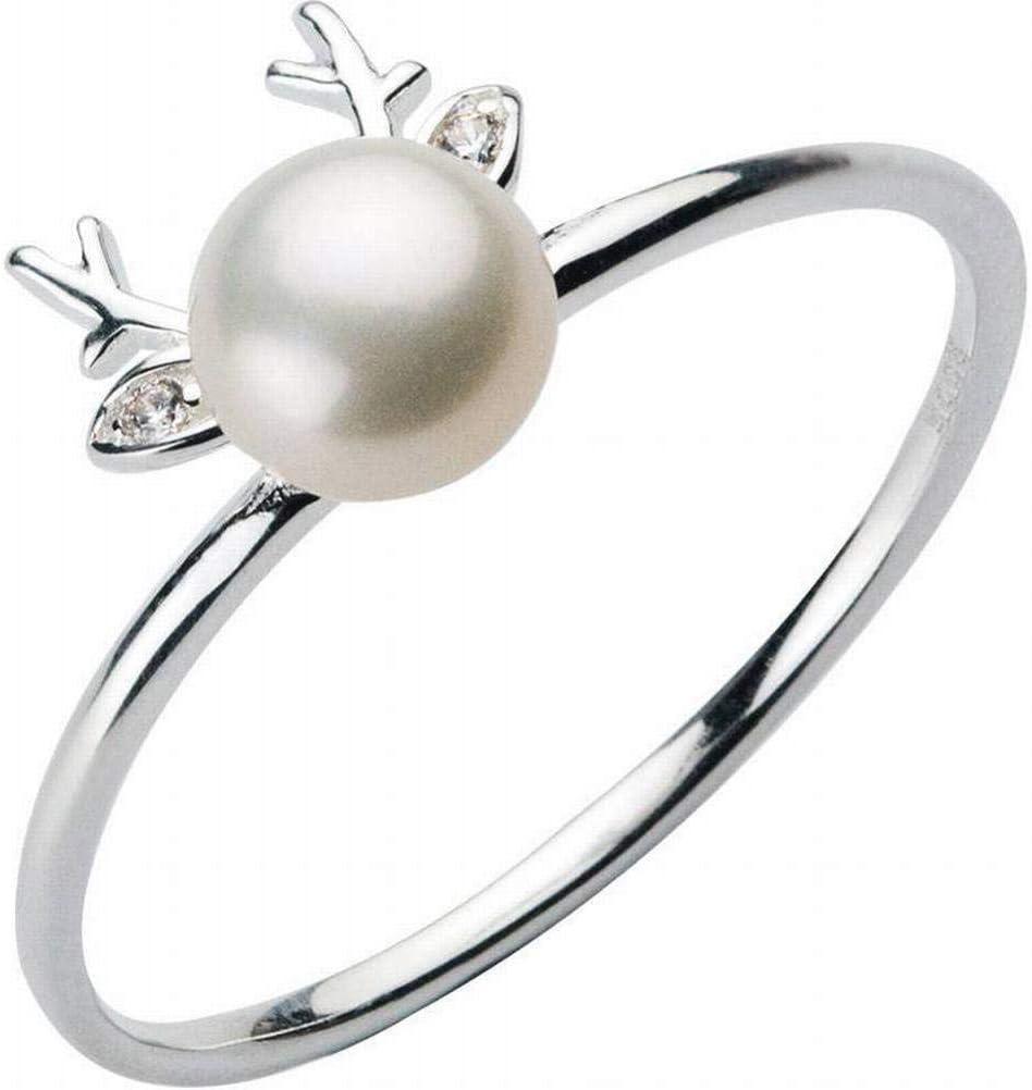 Elegant Dress-rings S925 Anillo de Alce Plateado Fresco Anillo de Perla Artificial con Ciervos Tachonados de Diamante, 8