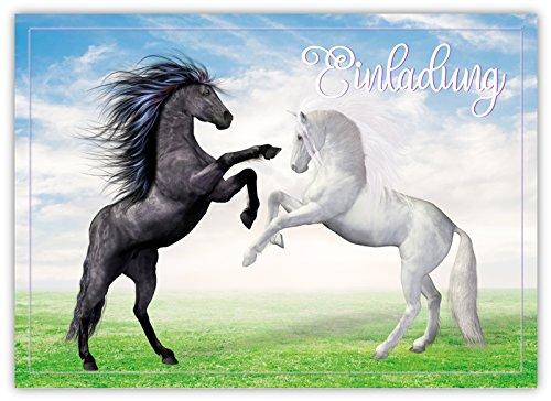 12 Lustige Einladungskarten Im Set Für Kindergeburtstag Mit Pferden Himmel  Wolke Wiese Party Für Mädchen Jungen