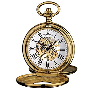 VIGOROSO Mens Pocket Watch Half Hunter Double Cover Skeleton Mechanical Watches Gold Roman Numeral Gift Box