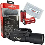 Surefire X300U-A 2016 Updated 600 Lumens Ultra High Output LED Weapon Light with 2 Extra Surefire CR123A and Battery Case