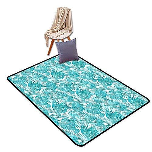 Price comparison product image Bath Rug Slip Light Blue Neo Camouflage Tropical Summer Pattern Palm Tree Leaves Hawaiian W55 xL79 Suitable for Restaurants, Family Rooms, corridors, foyers.