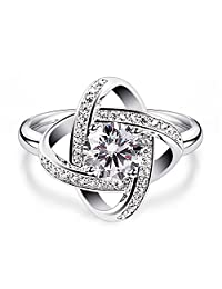 B.Catcher Rings for Women 925 Sterling Silver Elegant Cubic Zirconia Gemini Rings Jewelry Gifts