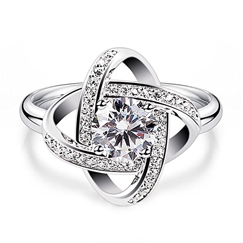 - B.Catcher Women's Ring Adjustable 925 Sterling Silver Cubic Zirconia Valentine's Gift for Her