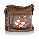 Vintage flower print Crossbody Bag with Fox, Canvas purse w/ Faux Leather Trim