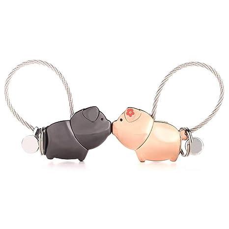 LHKJ 1 par Llavero Pareja Cerdos, Llavero para Pareja Amantes Valentines Sweet Regalo Llaveros, para Amantes Mujer Hombre (Negra + Oro Rosa)