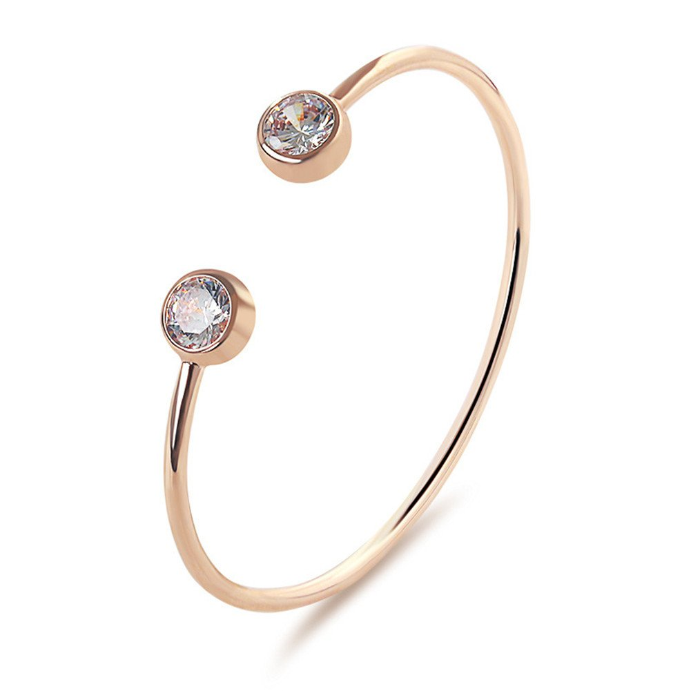 Sterling Silver Plated &18K Gold Plated Double CZ Round Balls Cuff Open Adjustable Bracelet,60MM (Gold)