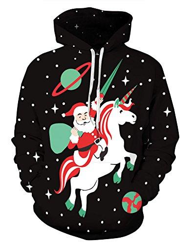 Couple 3D Santa Print Ugly Christmas Kangaroo Pocket Sweatshirt Hoodies Pullover Santa Riding Unicorn (Adult Santa Hoodie)