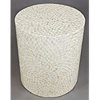 Round Capiz Accent Table in Natural Finish