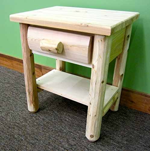 Midwest Log Furniture - Premium Log Nightstand W/shelf (Nightstand Bedroom Cedar)