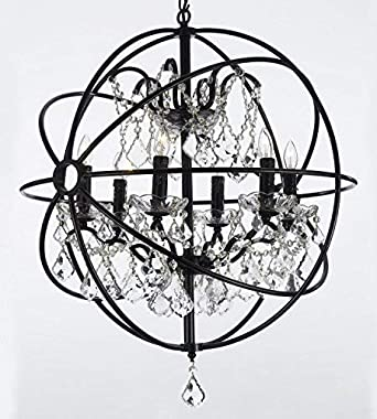 Foucault s Orb Wrought Iron Crystal Chandelier Lighting Country French , 6 Lights , , ht25 X wd24 Ceiling Fixture Sphere
