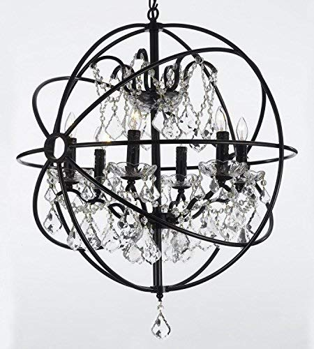 - Foucault's Orb Wrought Iron Crystal Chandelier Lighting Country French , 6 Lights , , ht25 X wd24 Ceiling Fixture Sphere