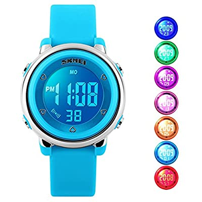 Kids Digital Sport Watch, Boys Sports Outdoor Watches, Girls LED Waterproof Electrical Watch with Alarm Children Stopwatch - Blue by cofuo