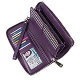 Women's RFID Blocking Wallet Genuine Leather Zip Around Clutch Large Travel Purse (Purple)