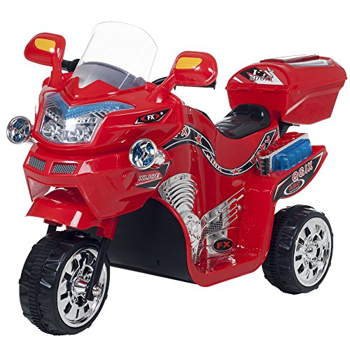 Ride on Toy, 3 Wheel Motorcycle Trike for Kids by Rockin' Rollers – Battery Powered Ride on Toys for Boys and Girls, 2 - 5 Year Old - Red FX