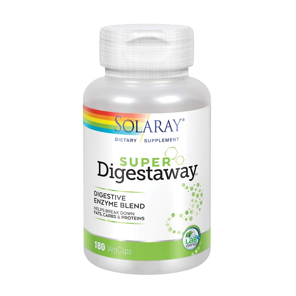 Solaray Super Digestaway Digestive Enzyme Blend | Healthy Digestion & Absorption of Proteins, Fats & Carbohydrates | Lab Verified | 180 VegCaps by Solaray