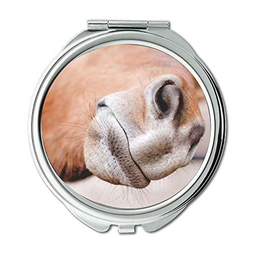 (Mirror,Compact Mirror,animal horse nose,pocket mirror,portable mirror)