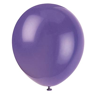 "Unique Industries, 12"" Latex Balloons, DIY Party Decoration - Pack of 10, Amethyst Purple: Kitchen & Dining"