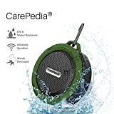 CarePedia Shower speaker, Water Resistant Bluetooth 3.0 portable Bluetooth Shower Speaker with 5W Drive, Suction Cup, Built-in Mic, Control Buttons and Dedicated Suction Cup (IPX5 Army-Green)