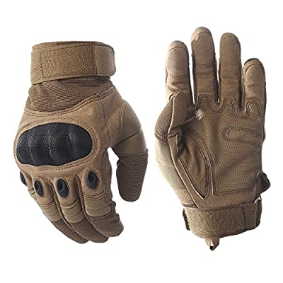 Tactical Army Military Rubber Hard Knuckle Outdoor Full Finger Gloves for Men Fit for Cycling Motorcycle Hiking Camping Powersports Airsoft Paintball
