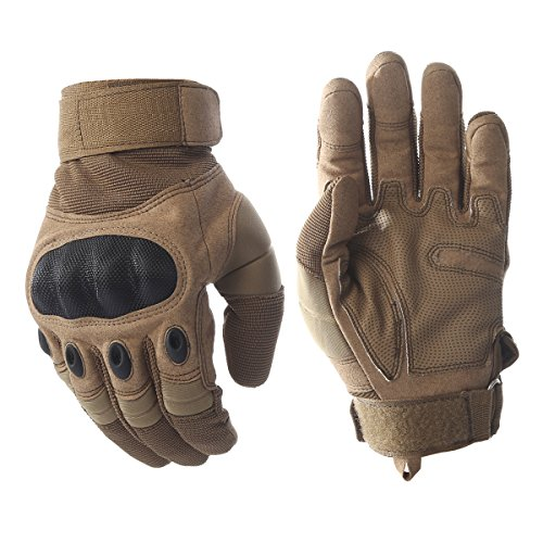 Tactical Army Military Rubber Hard Knuckle Outdoor Full Finger Gloves for Men Fit for Cycling Motorcycle Hiking Camping Powersports Airsoft Paintball (Tan, X-Large) Fits Hard Rubber