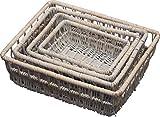 Set of 4 Provence Wicker Shallow Storage Baskets