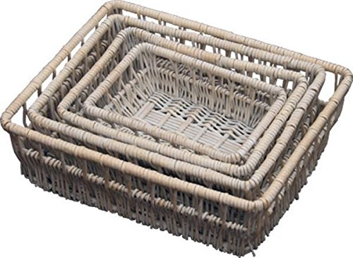 Set of 4 Provence Wicker Shallow Storage Baskets by Red Hamper