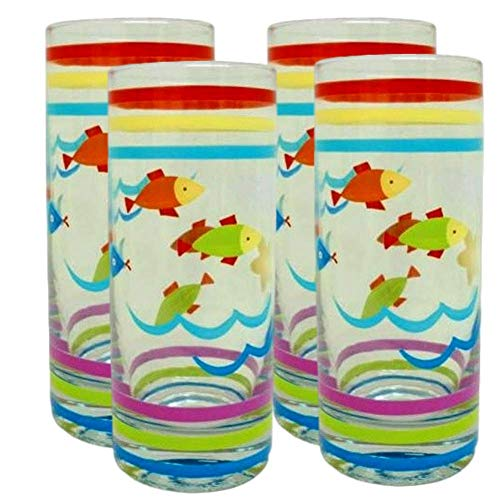 Highball Glasses Tall Tumbler Glass Glassware Clear Fish Beach Pool Luau Cocktail Soda Pop Water Iced Tea Juice Beer Party Drinking Glasses 4 Set (Club Soda Or Sparkling Water For Mojitos)