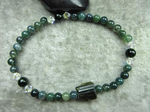 Genuine Green Tourmaline, Moss Agate and Green Goldstone Healing Stretch ()