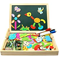 Innoo Tech Magnetic wooden puzzle, puzzle wooden games with double sided board and 3 colourful pens for drawing, 70…