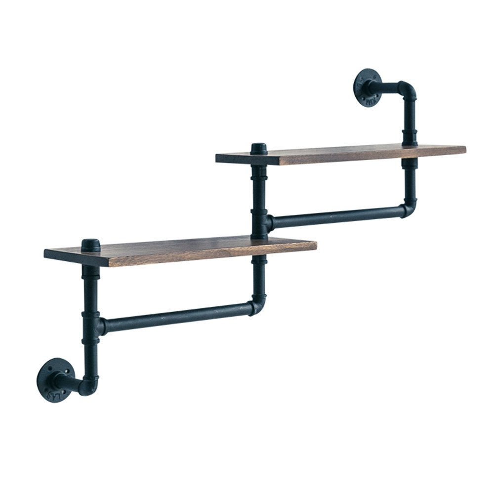 Combination racks Hangers / wall Wall shelves / wall-mounted American retro industrial wind hangers / solid wood shelves / bars Wrought iron hose hangers /(965820cm) by Clothes hat shelf