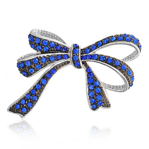 Bling Jewelry Large Royal Blue Crystal Statement Bow Brooch Pin for Women Rhodium Plated Brass