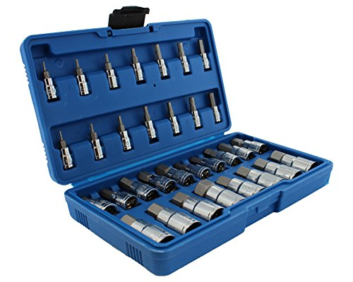ABN Master Hex Socket Set – 32-Piece Universal SAE and Metric Kit – Allen Socket Bit 5/64-inch to 3/4-inch 2mm to 19mm ()