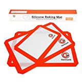 Kyпить Silicone Baking Sheets Set of 3 Genround Non Stick Eco Silicone Baking Mat Set, BPA Free Stainless Cookie Sheet Liner For Toaster Oven - 2 x Large Half Sheet, 1 x Small Quarter Sheet, Orange Red на Amazon.com