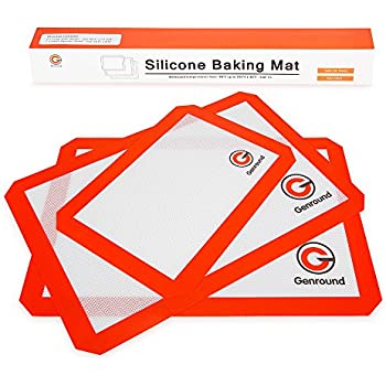 Silicone Baking Sheets Set of 3 Genround Non Stick Eco Silicone Baking Mat Set, BPA Free Stainless Cookie Sheet Liner For Toaster Oven - 2 x Large Half Sheet, 1 x Small Quarter Sheet, Orange Red