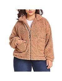 VEZAD Store Women's Coat Casual Lapel Fleece Fuzzy Faux Button Warm Winter Oversized Outerwear Jackets with Pockets