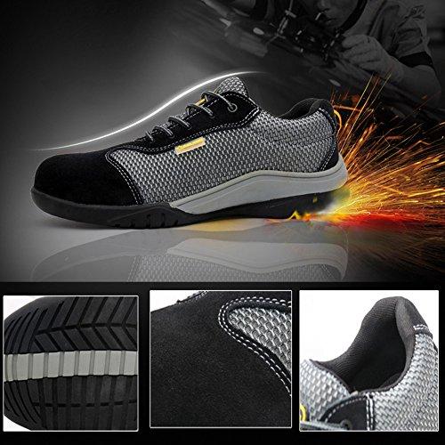 Toe Black Lightweight PANCY Resistant Slip Steel Shoes Work Shoe Men's Eqzf67w